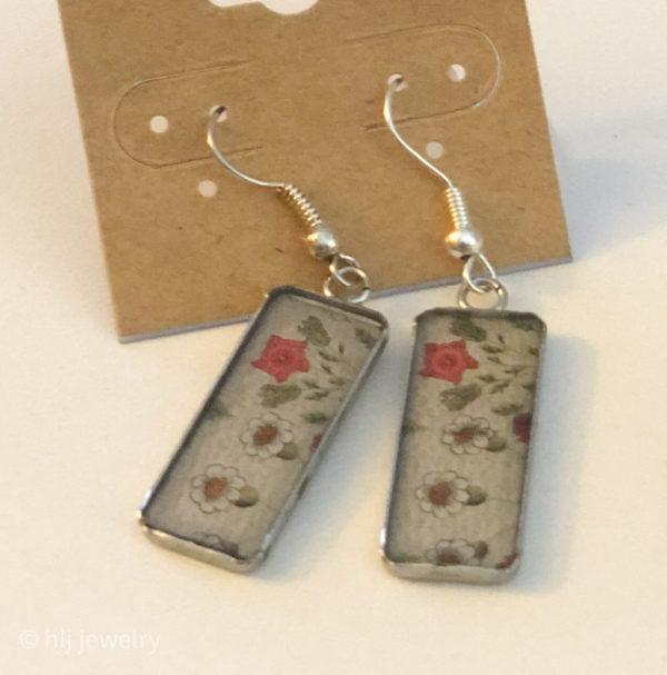 Rectangle Flower Dangles on French Hook Earrings