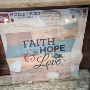 Faith, Hope & Love Puzzle Piece Wood Sign