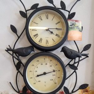 Leaf & Bird Design Decorative Garden Clock With Thermometer