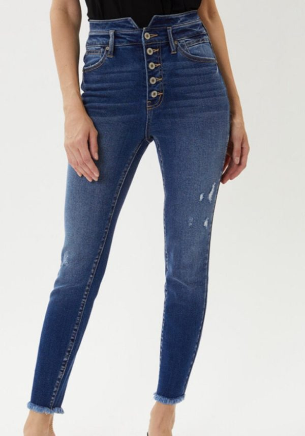 High rise waistband detail skinny jean