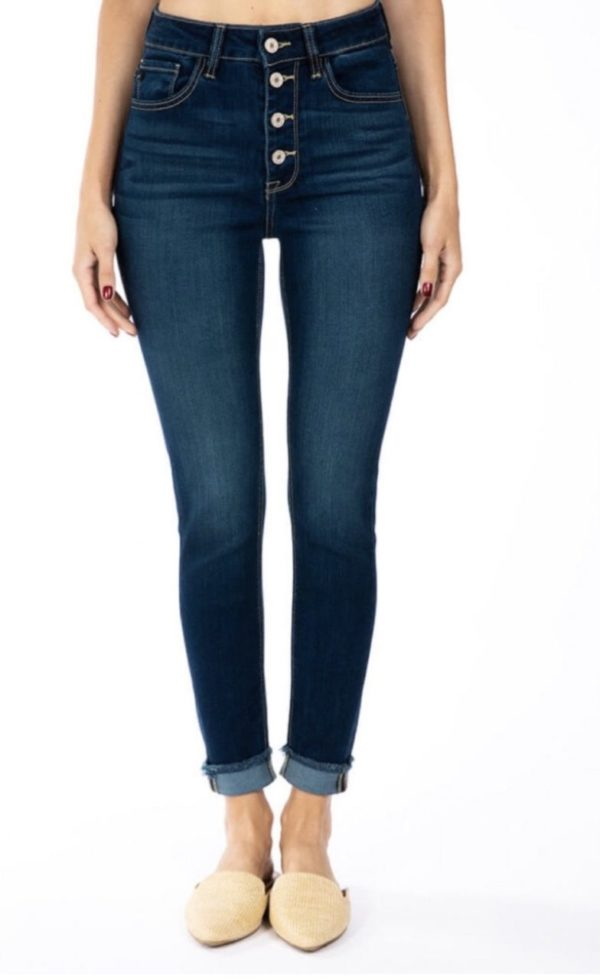 Button fly high rise ankle skinny jeans with fray bottom