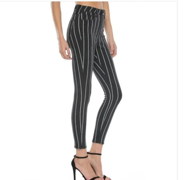 High rise black skinny with white stripes