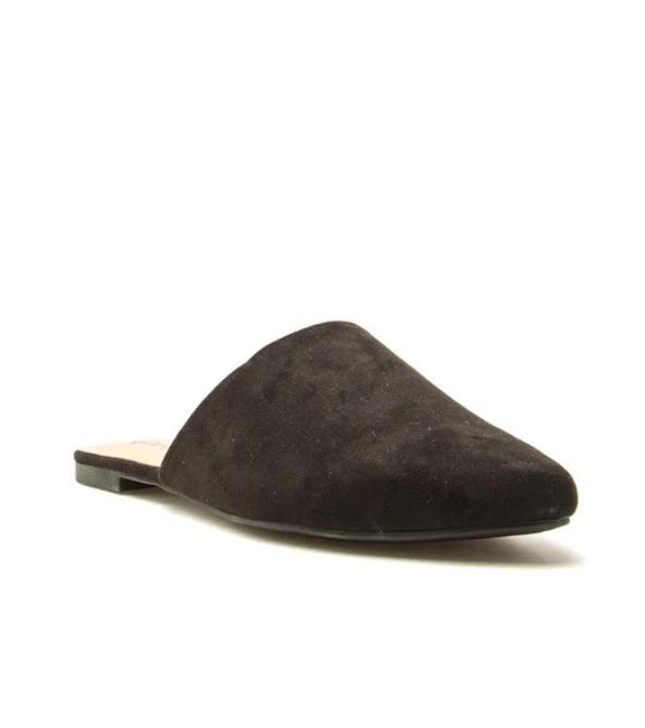 Black suede mule