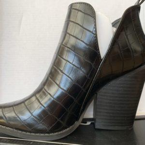 Black crocodile print bootie