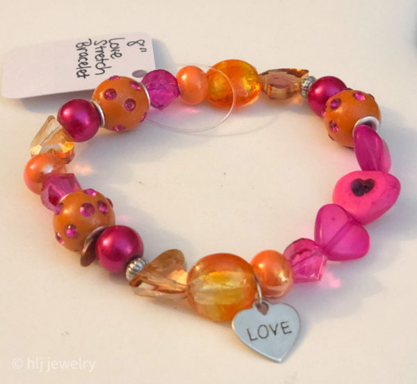 Love 8″ Stretch Bracelet with pink and orange hues