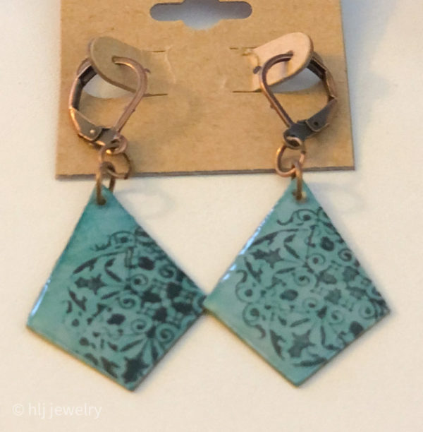 Turquoise Hand Stamped Resin Diamond Shaped Dangle Earrings