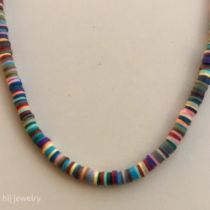 "16"" Heishi Polymer Rainbow Necklace"
