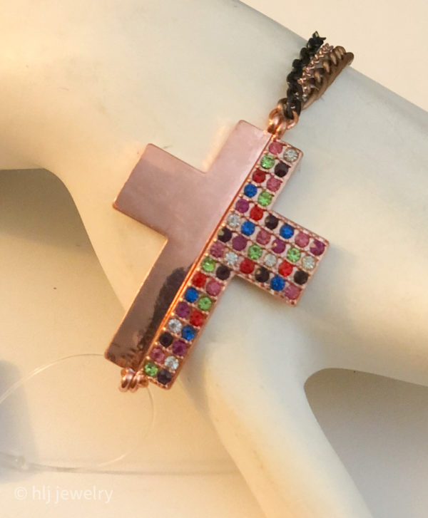 Rose Gold Colorful Cross 6.75″ Bracelet with Colorful Rhinestones