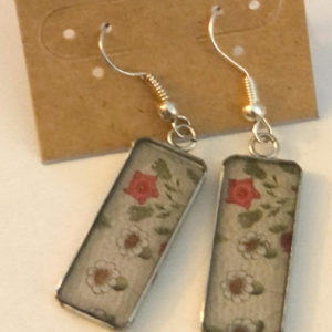 Rectangle Flower Dangles on French Hook Earrings