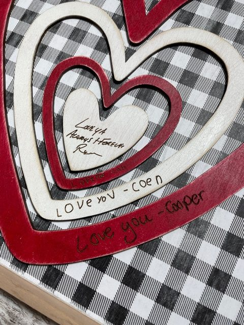 Personalized Engraved Hearts Wooden Sign