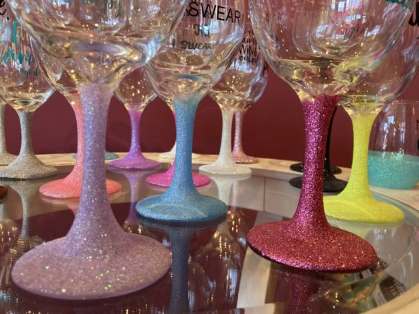 Wine Glasses with Sayings and Sparkly Stems