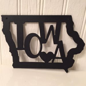 Iowa Metal Art with Heart