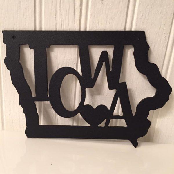 Iowa Metal Art with Heart