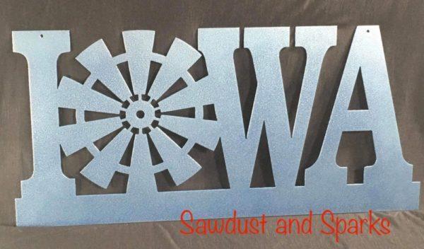 Metal Iowa Windmill sign