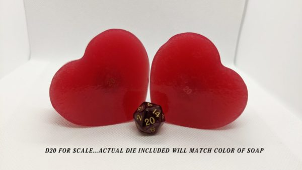 Red Heart shape soap with a d20 inside.