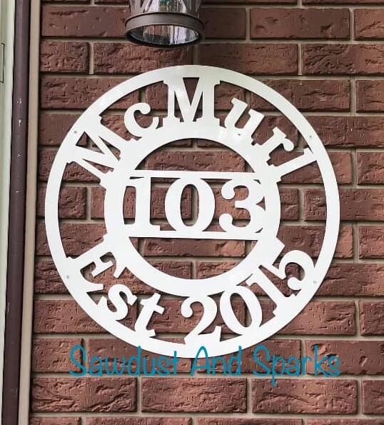 Family Name House Number Metal Sign
