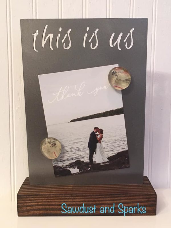 """""""This is us"""" magnetic photo board"""