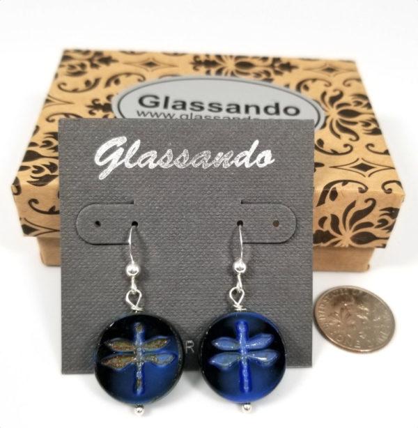 Dark blue Czech glass Dragonfly and sterling silver dangle earrings