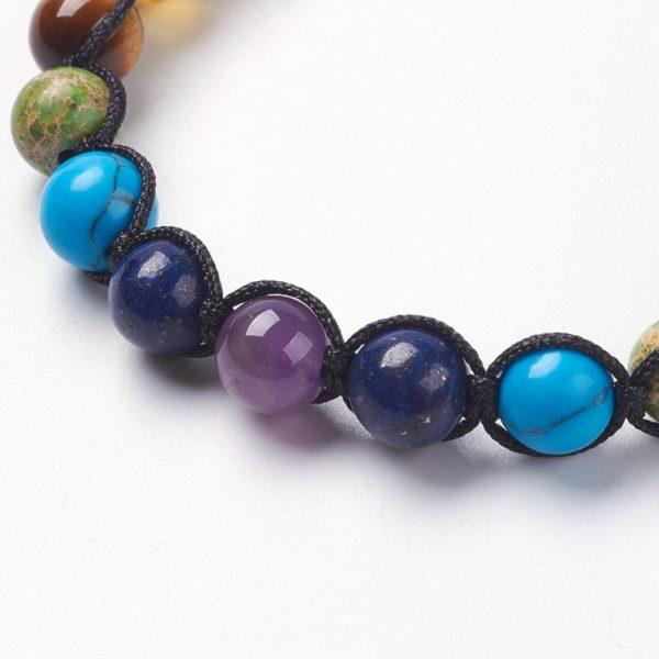 close-up of gemstone beads in bracelet