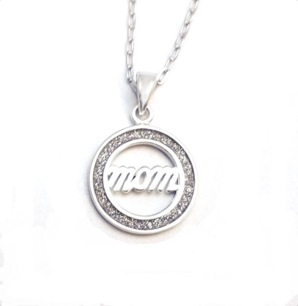 Sterling silver Mom necklace with adjustable 16 to 18 inch chain
