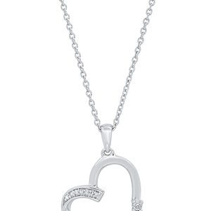diamond and sterling silver heart necklace