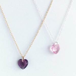 Birthstone Heart Pendant Necklace