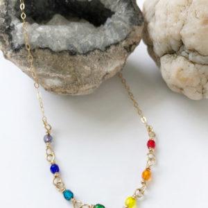 Chakra Rainbow Crystal Bead Necklace
