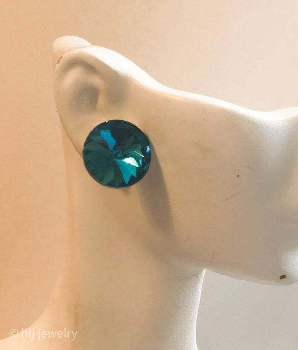 Rivoli Crystal Silver Post Earrings