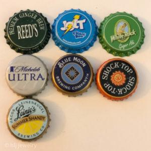 Set of 7 Bottlecap Magnets – Beer, Alcohol, Soda