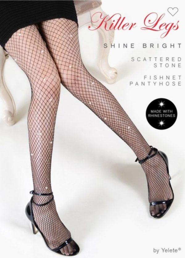 Shine Bright Scattered Rhinestone Fishnets