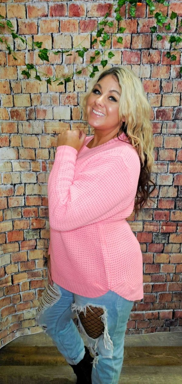 Everyday Waffle Knit Sweater – Bright Pink