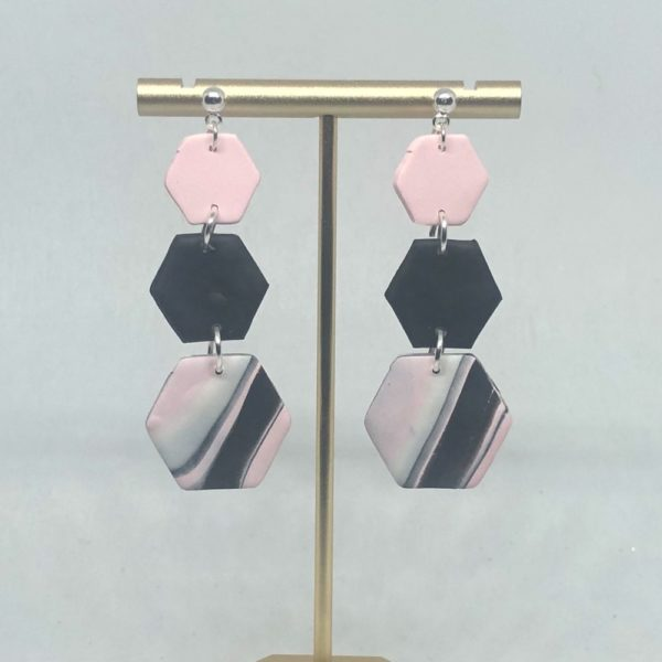 Pink + Black Tri Hexy Earrings