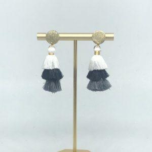 Gold Black & White Tassel Earrings