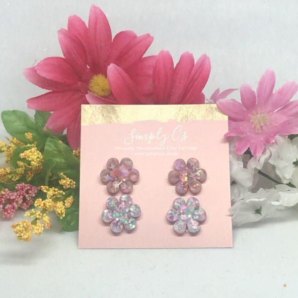 Glitter Flower Earring Pack