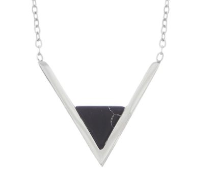 Dainty Stainless Steel Necklace wih Triangle Stone in Gold/Silver