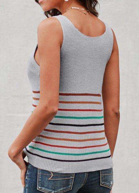 Gray Lightweight Knit Striped Tank