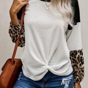 Black Leopard Waffle Knit Blouse