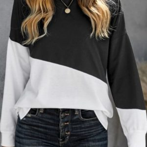 Black Patchwork Dropped Shoulder Top