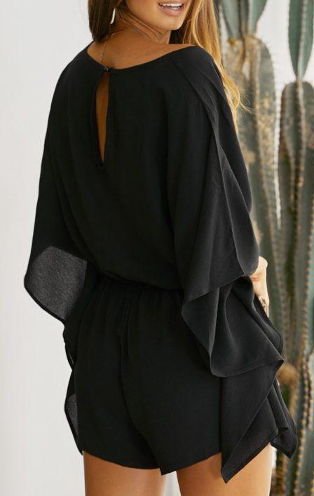 Black Born To Fly Kimono Romper