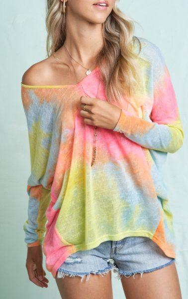 Tropical Lightweight Tie Dye Top