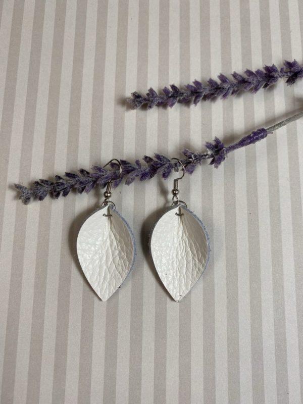 White gathered teardrop leather earrings