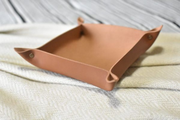 Caramel Brown Genuine Leather Valet Tray