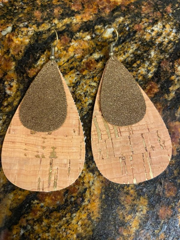 Cork/Shimmer Genuine Leather Earrings