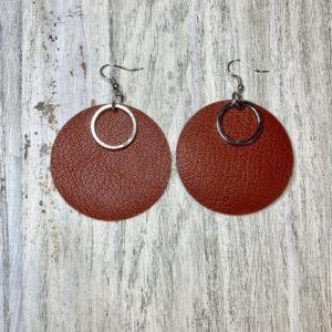 Ornament Genuine Leather Earrings