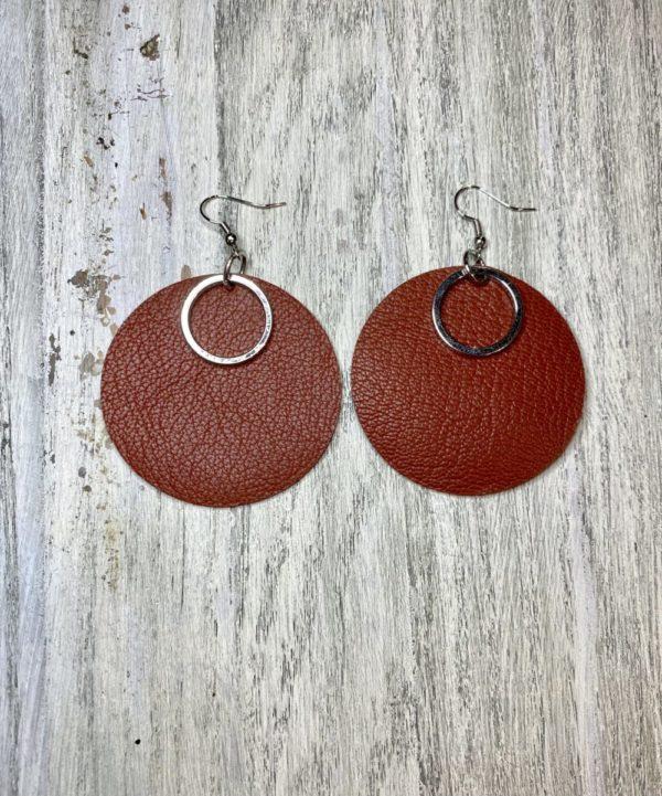 Ornament Genuine Leather Earrings
