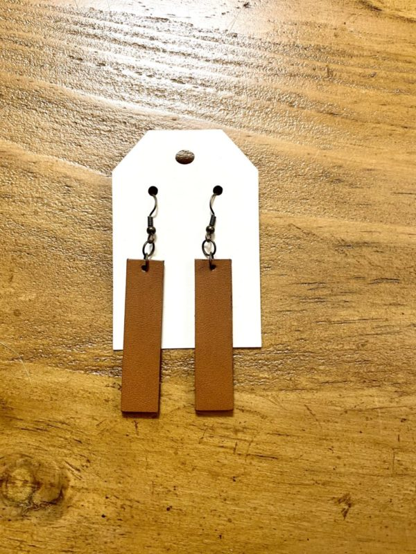 Caramel brown leather earrings