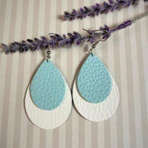 Light Blue and White Teardrop Earrings