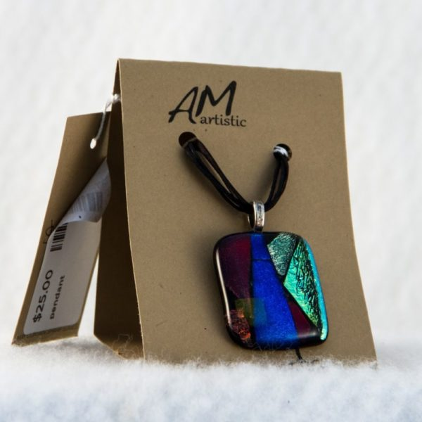 Dichroic Chip Fused Glass Pendant