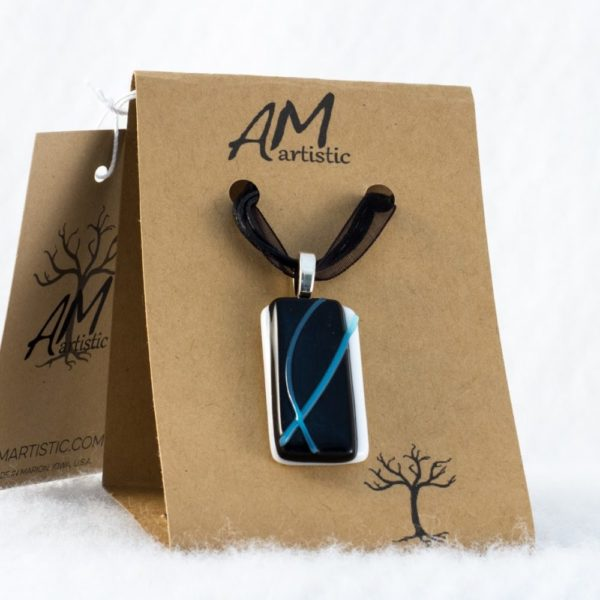 Tack Fused Glass Pendant with Blue