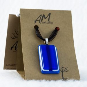 Blue Tack Fused Glass Pendant